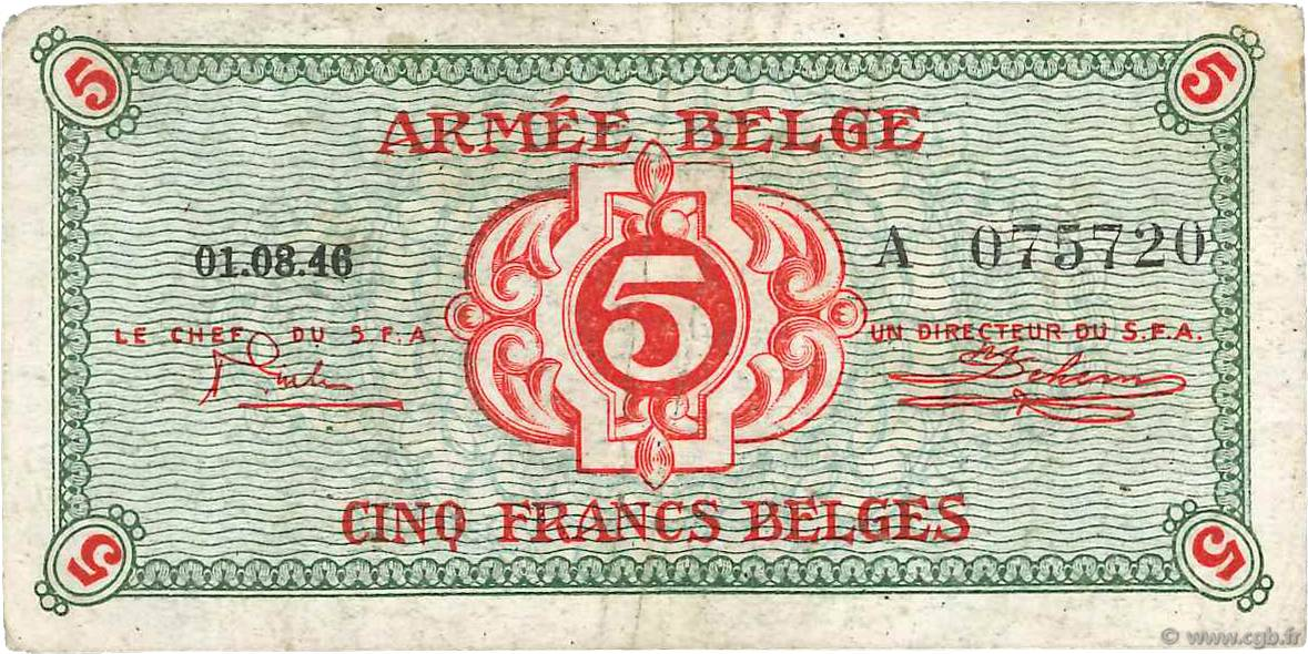 RECTO 2 francs Type 1946 Belgian Army