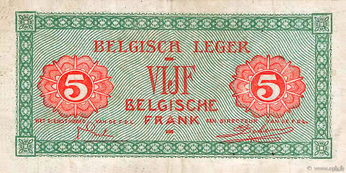 VERSO 2 francs Type 1946 Belgian Army