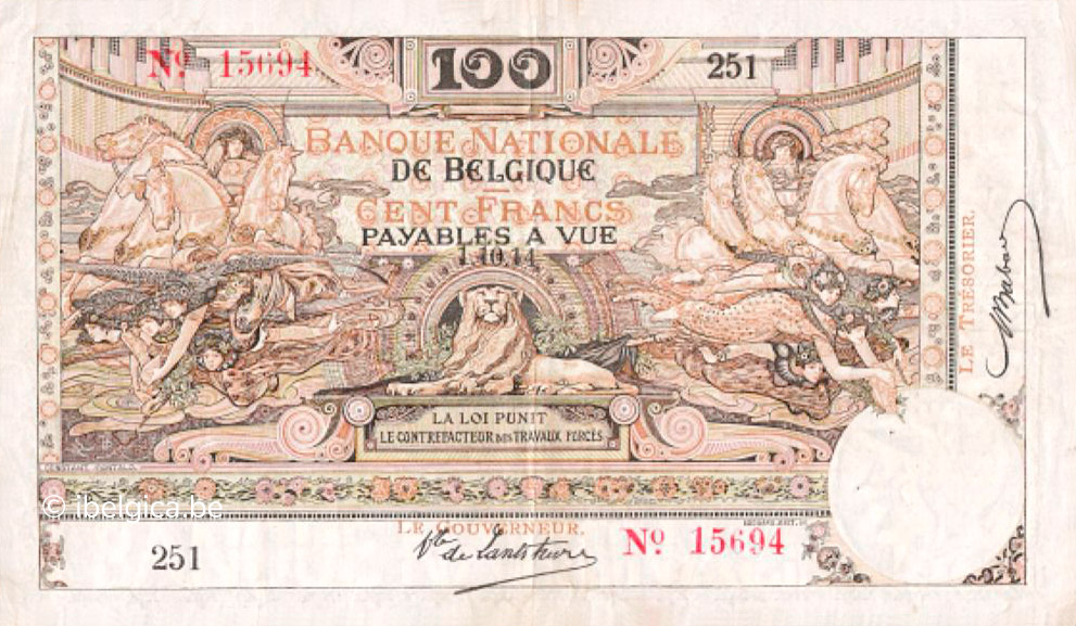 RECTO 100 francs Type 1914 Ostend-Antwerp