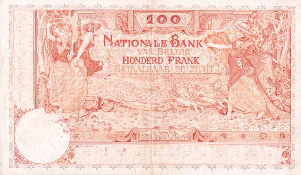 VERSO 100 francs Type 1914 Ostend-Antwerp