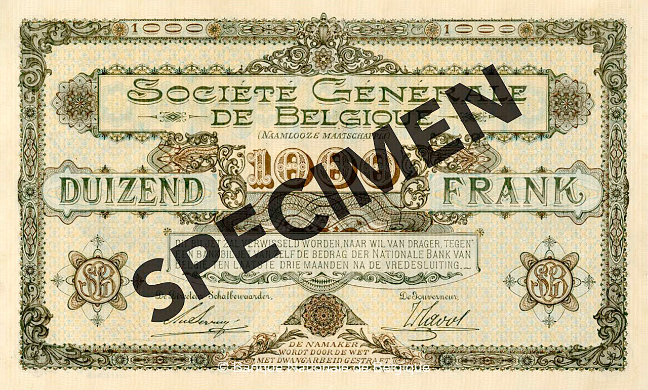 VERSO 1000 francs Type 1915 Société Générale