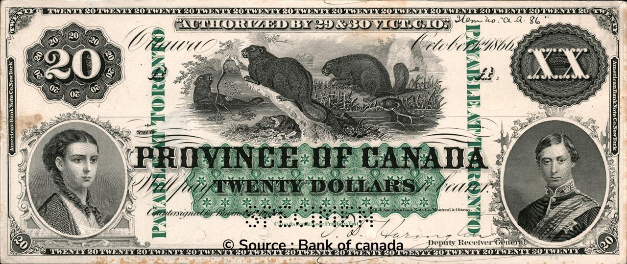 RECTO 20 Dollars Type 1866