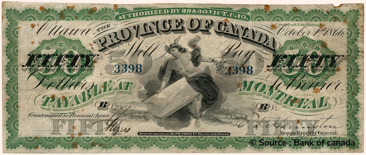 RECTO 50 Dollars Type 1866