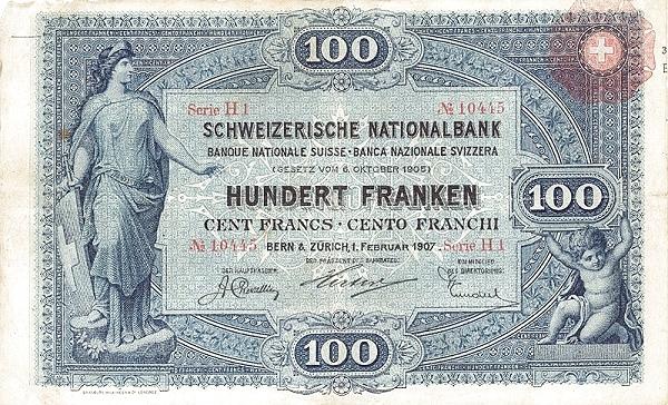 RECTO 100 francs Type 1907