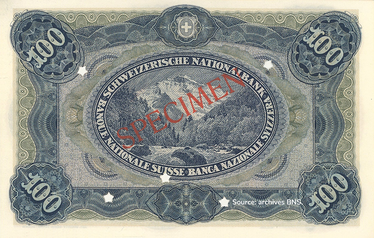 VERSO 100 francs Type 1918 not issued
