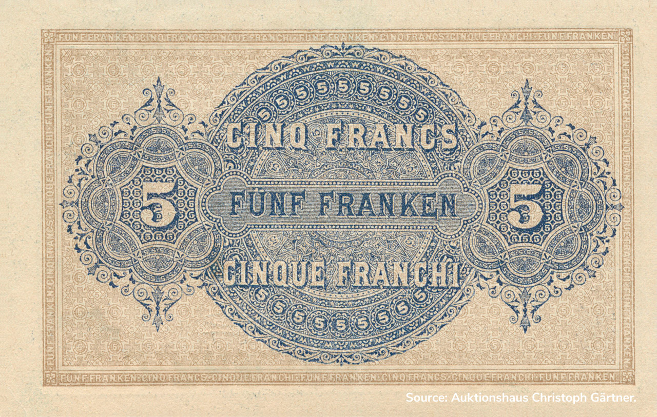 VERSO 5 francs Type 1914 (IT)