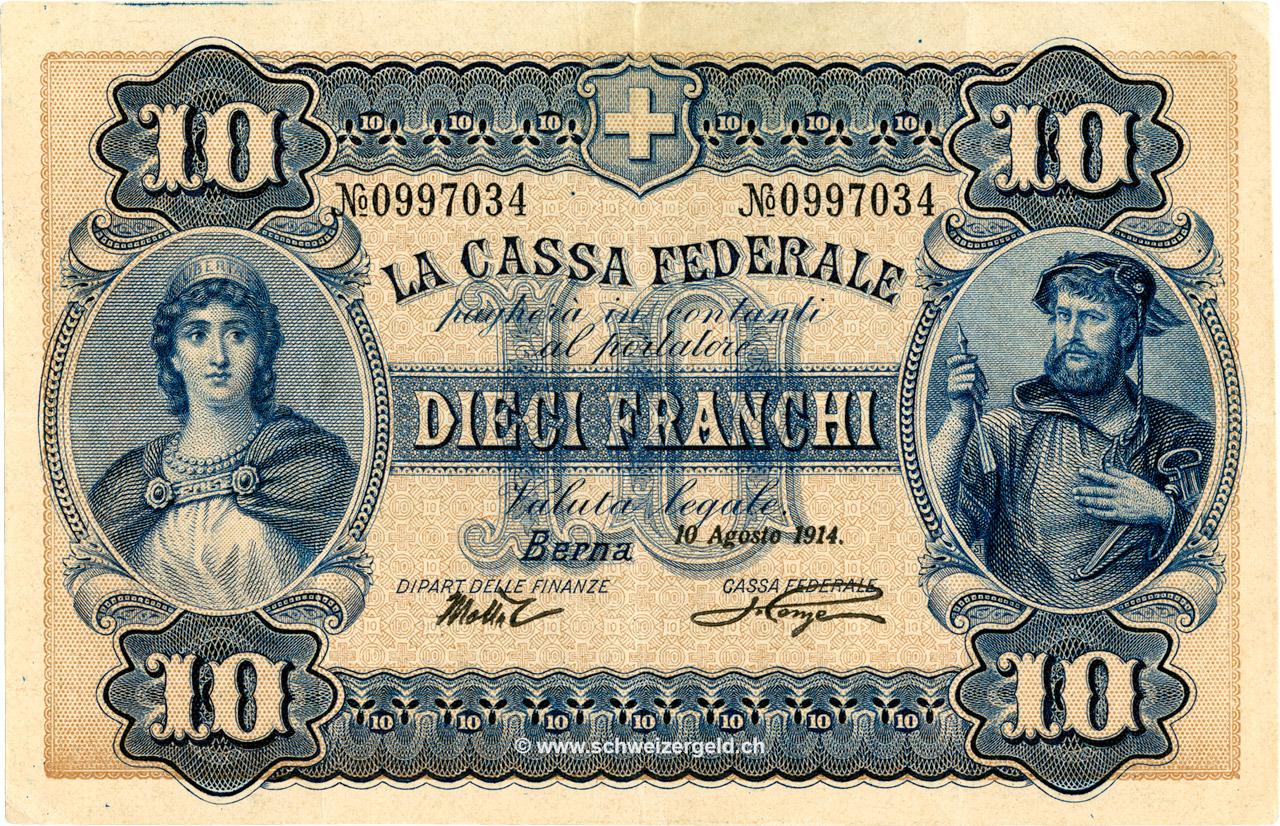 RECTO 10 francs Type 1914 (IT)