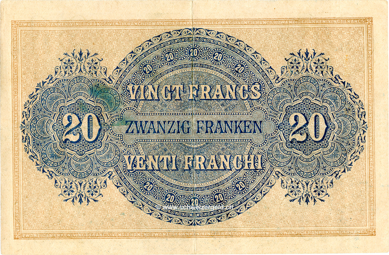 VERSO 20 francs Type 1914 (IT)