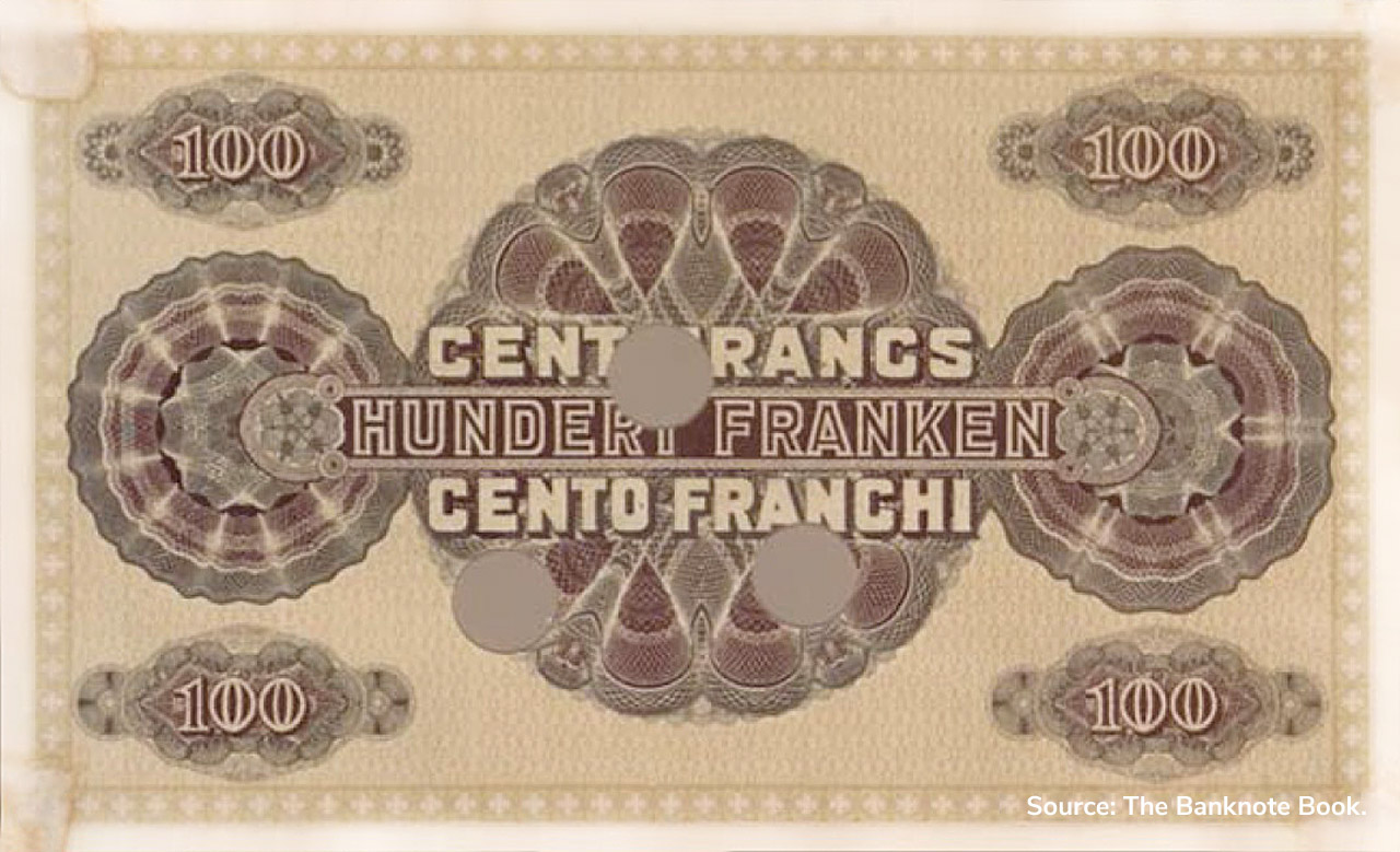 VERSO 100 francs Type 1914 not issued