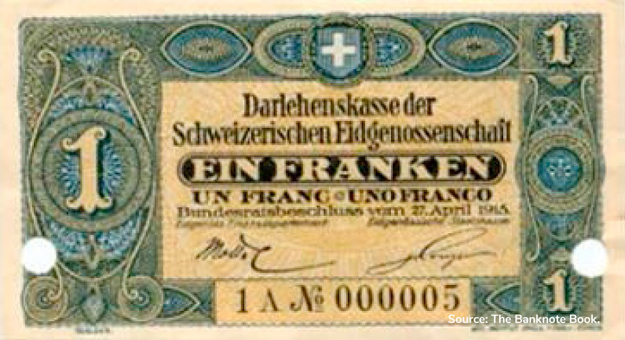 RECTO 1 franc Type 1915 not issued