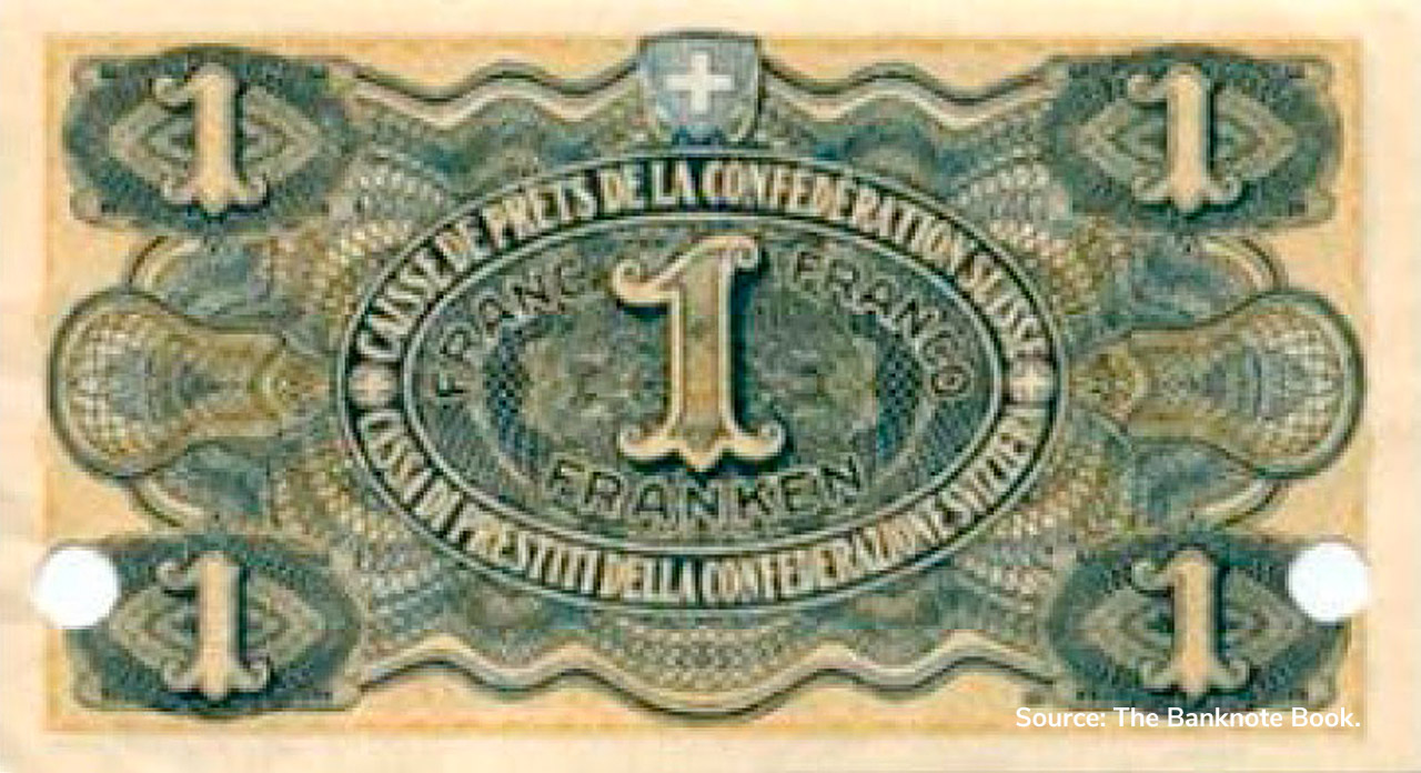 VERSO 1 franc Type 1915 not issued