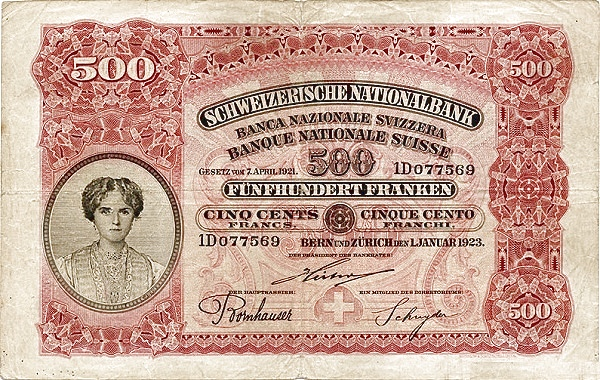 RECTO 500 francs Type 1923