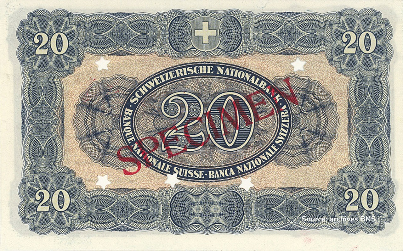 VERSO 20 francs Type 1923 not Issued