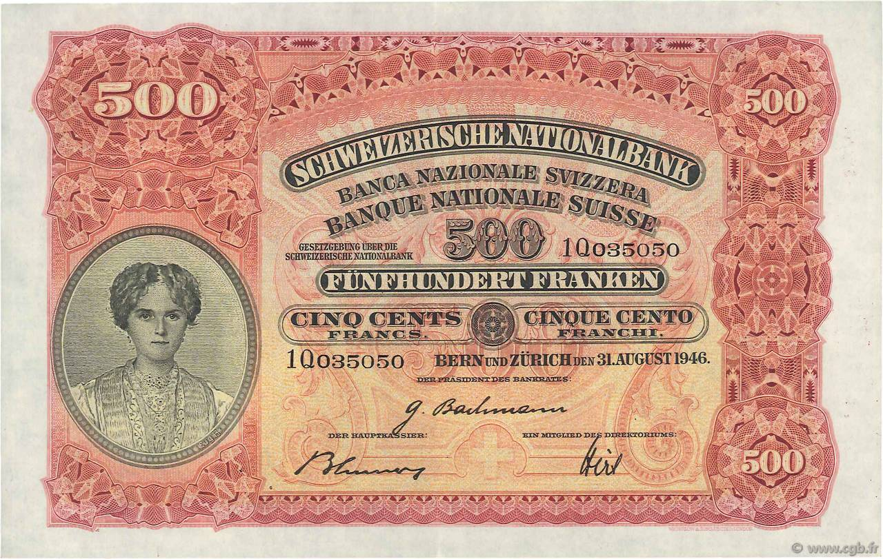 RECTO 500 francs Type 1928