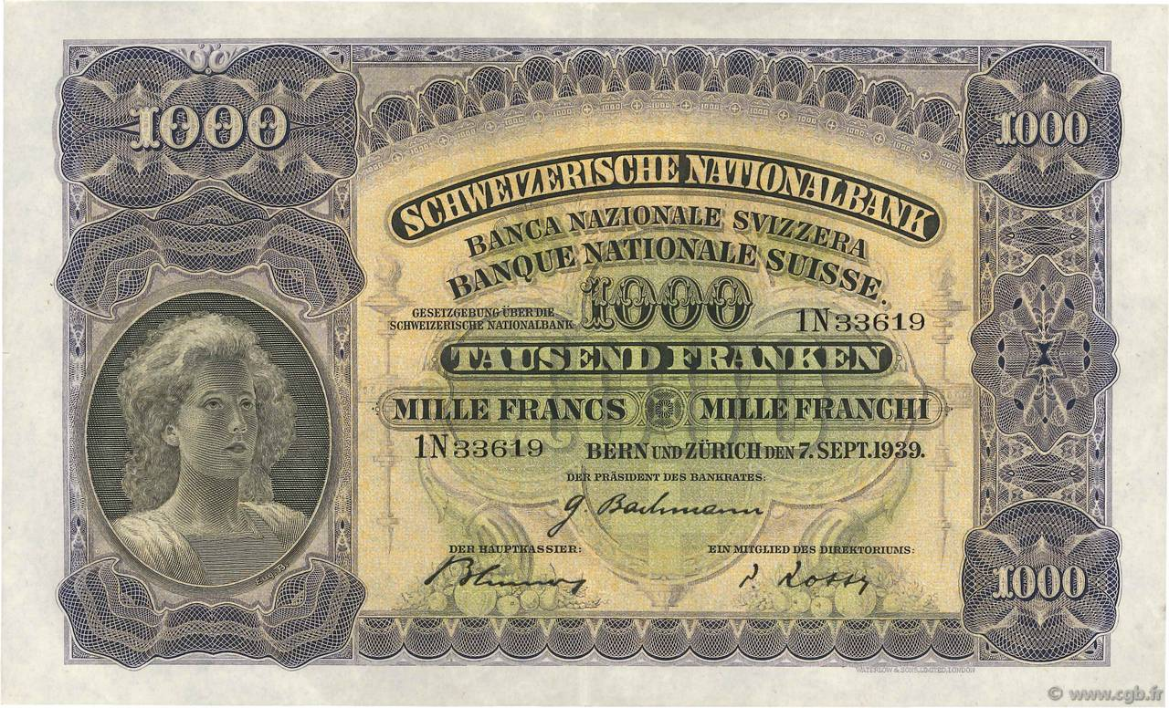 RECTO 1000 francs Type 1927