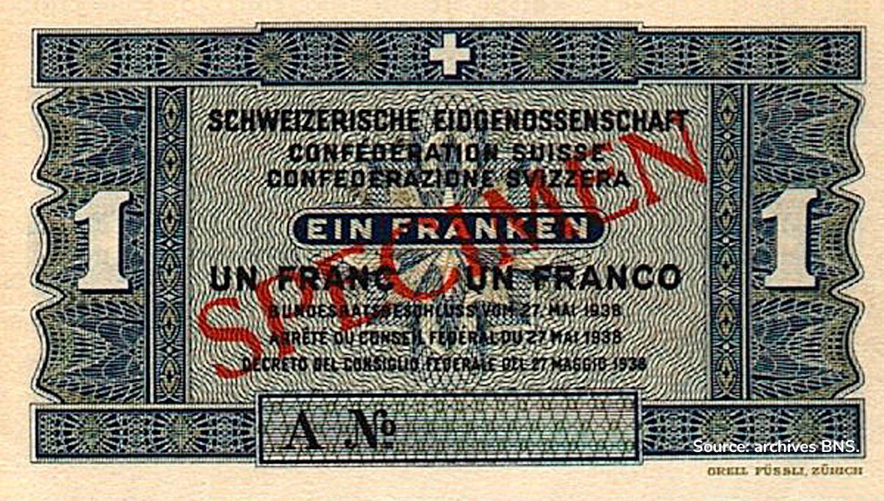 RECTO 1 franc Type 1938 not issued