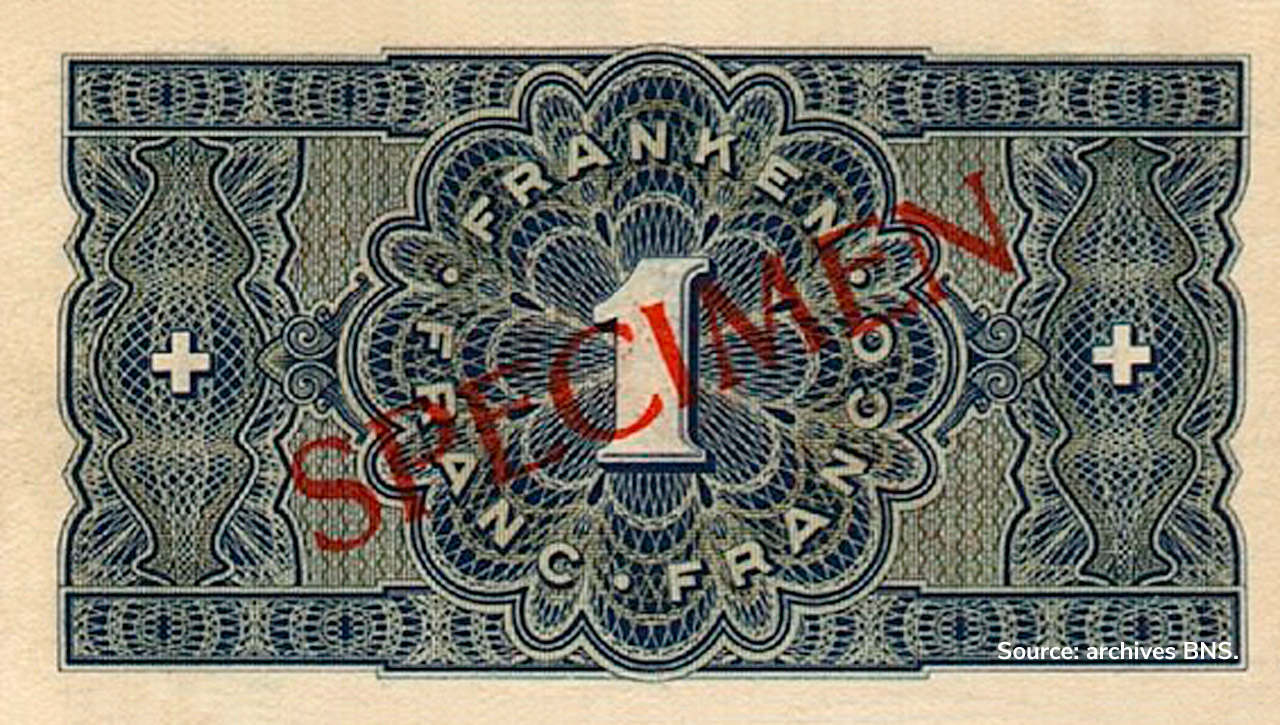 VERSO 1 franc Type 1938 not issued