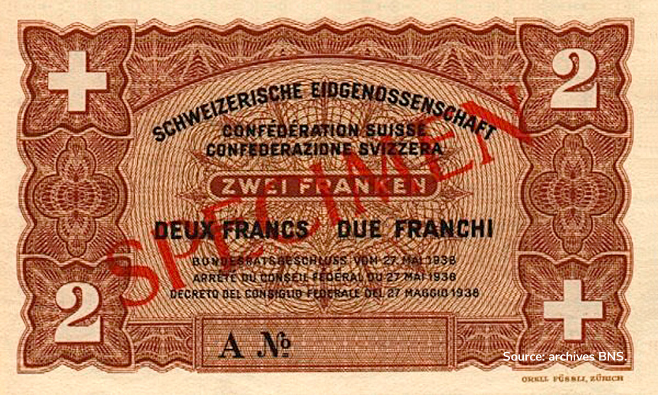 RECTO 2 francs Type 1938 not issued
