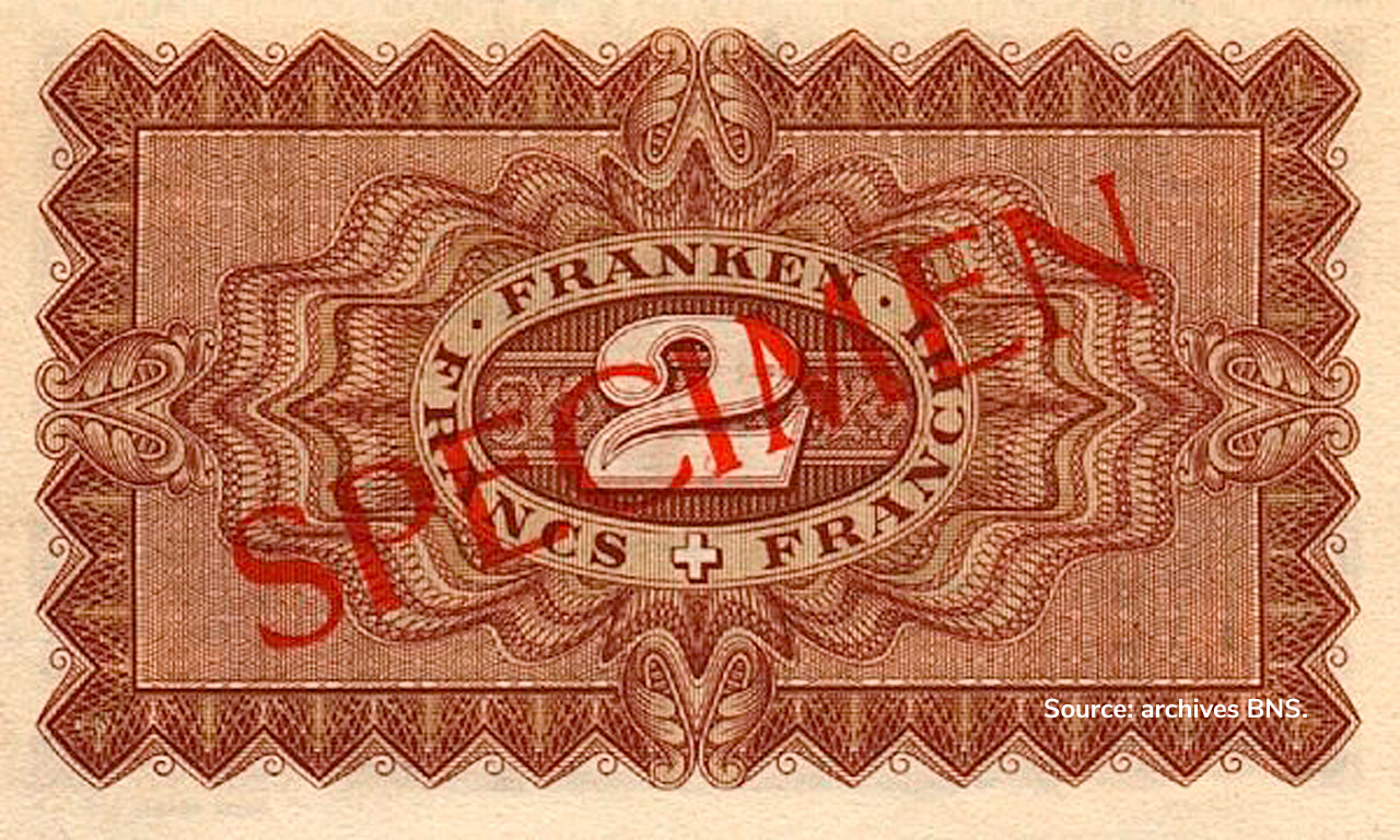 VERSO 2 francs Type 1938 not issued