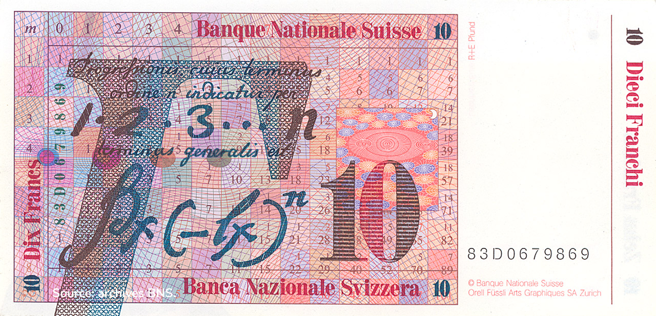 VERSO 10 francs Type 1983 not issued