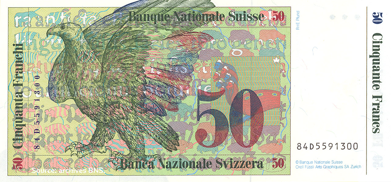 VERSO 50 francs Type 1984 not issued