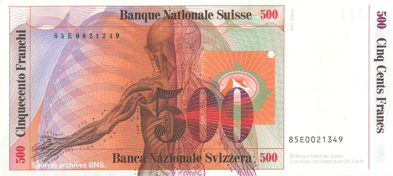 VERSO 500 francs Type 1985 not issued