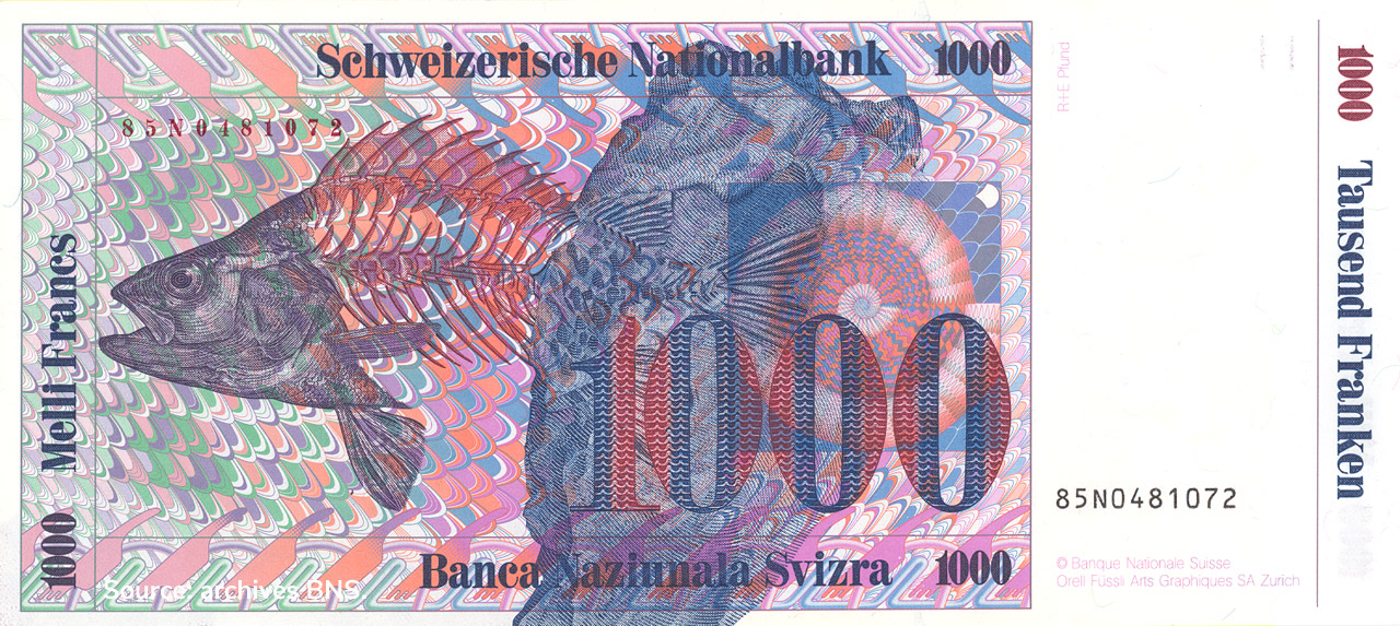 VERSO 1000 francs Type 1985 not issued