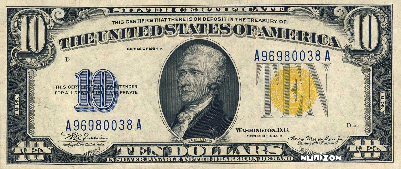 RECTO 10 dollars Silver certificate Type 1934