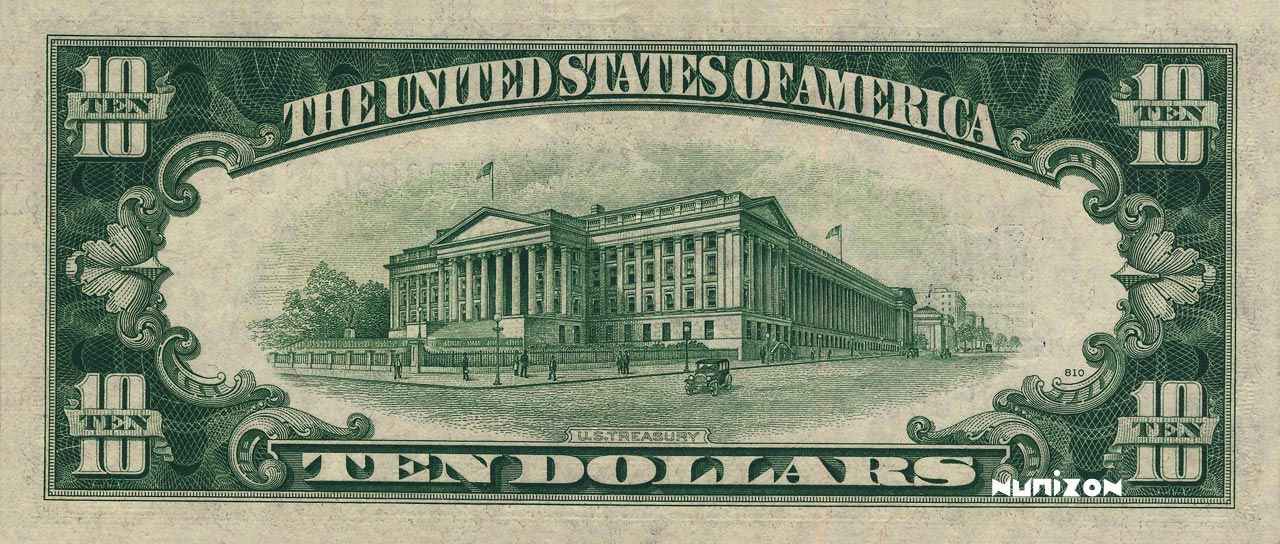 VERSO 10 dollars Silver certificate Type 1934