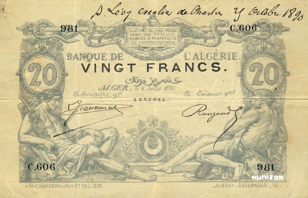 RECTO 20 francs Blue Type 1873 (Alger)