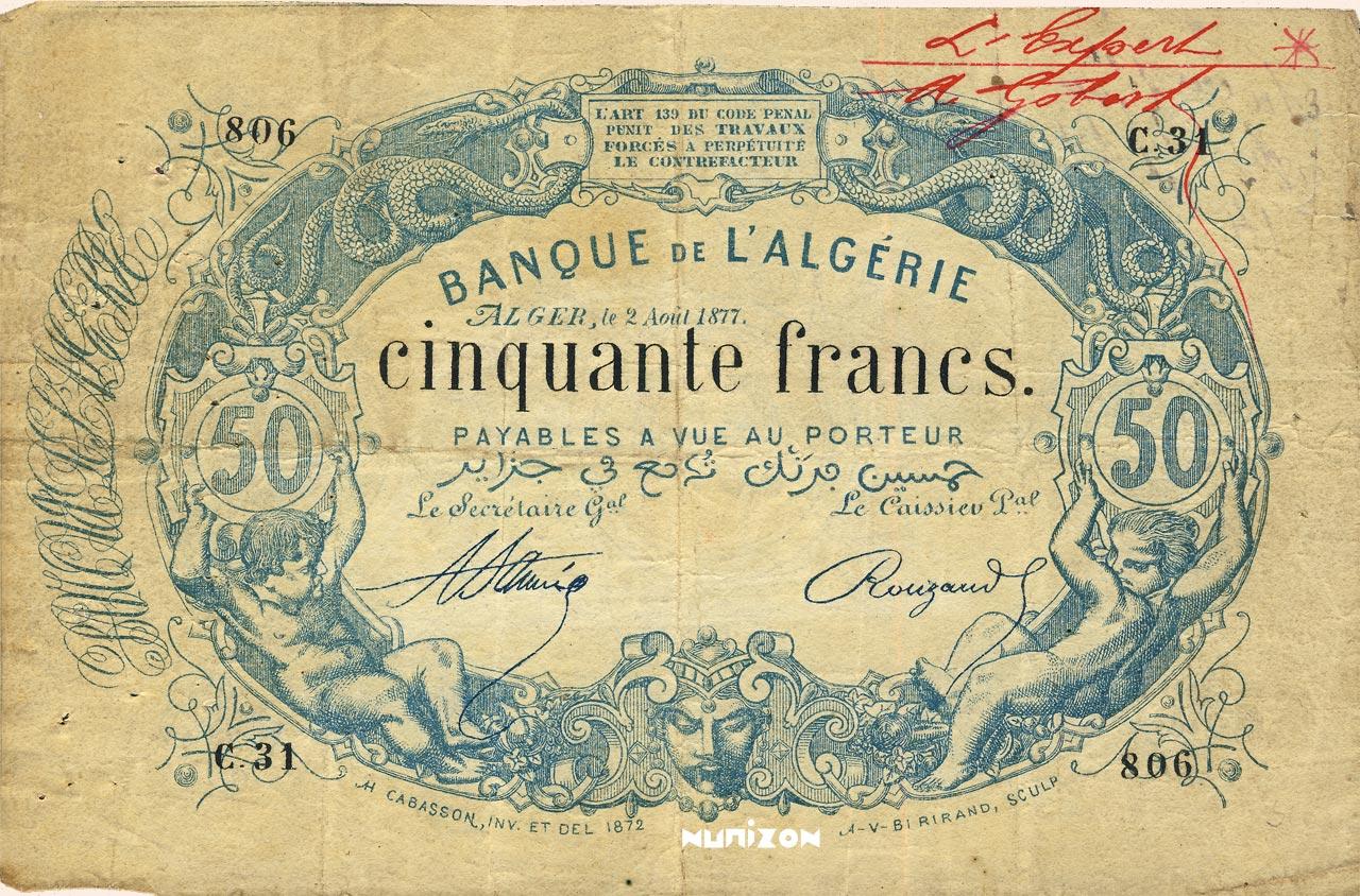 RECTO 50 francs Bleu Type 1873 (Alger)