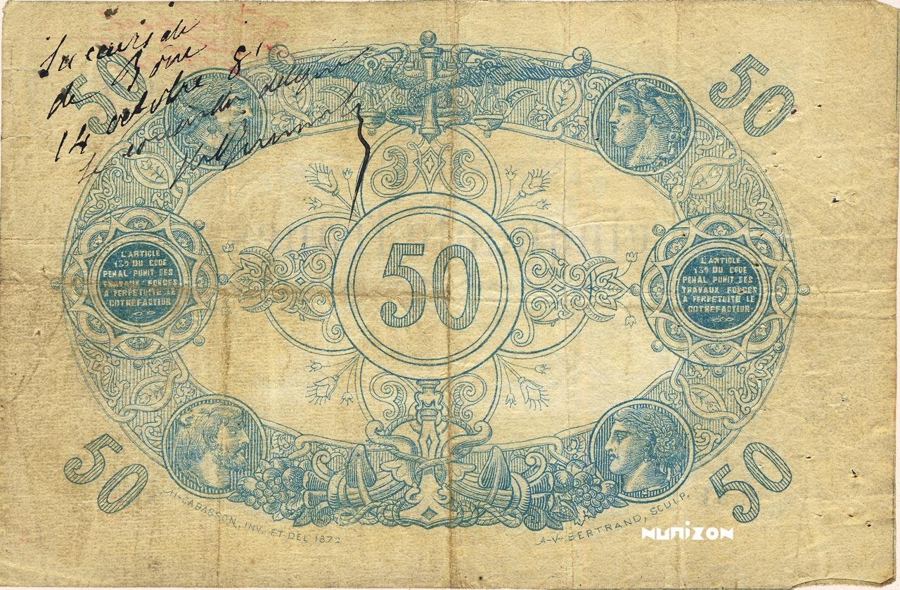 VERSO 50 francs Bleu Type 1873 (Alger)