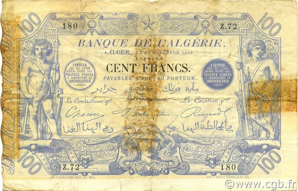 RECTO 100 francs Bleu Type 1874 (Alger)