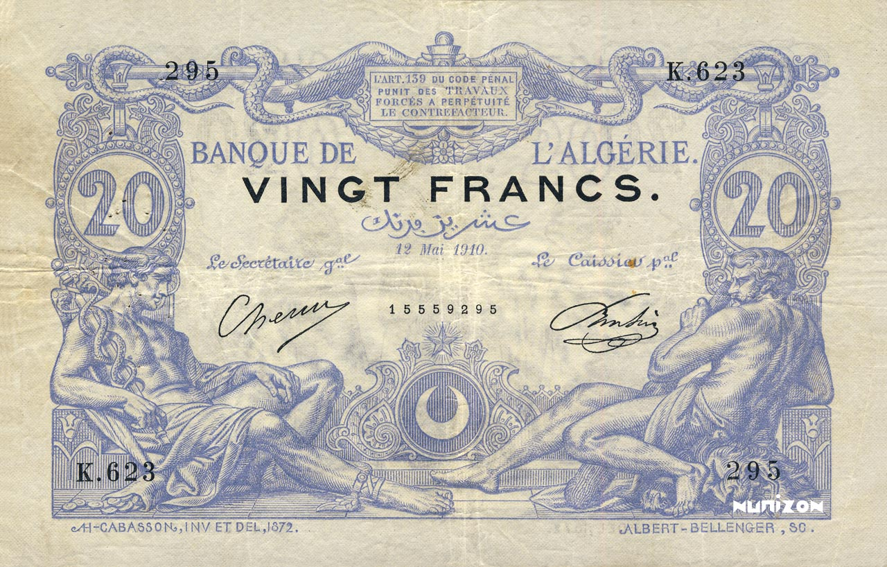 RECTO 20 francs Blue Type 1873