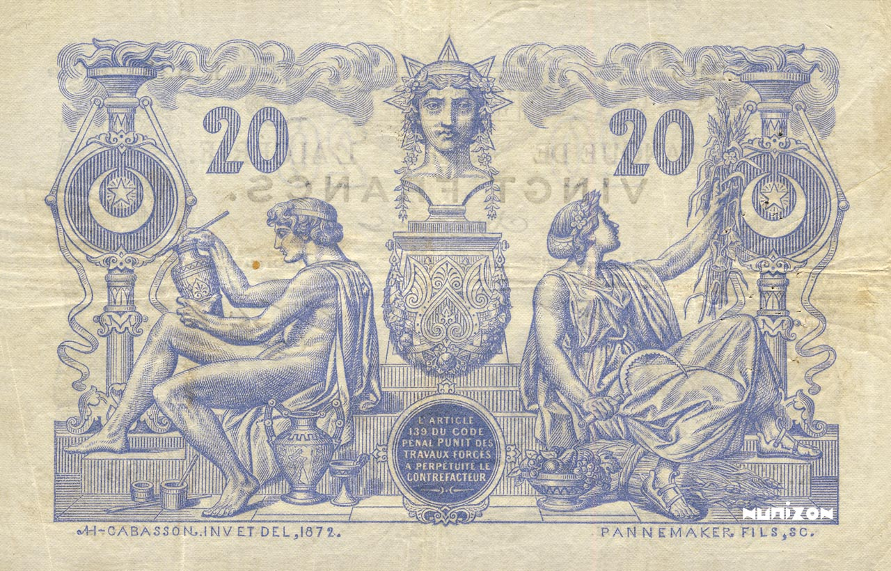 VERSO 20 francs Blue Type 1873