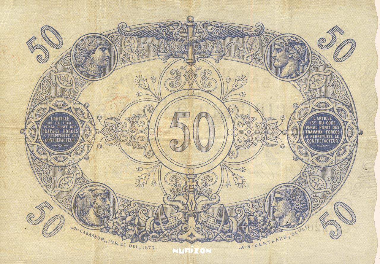 VERSO 50 francs Blue Type 1873