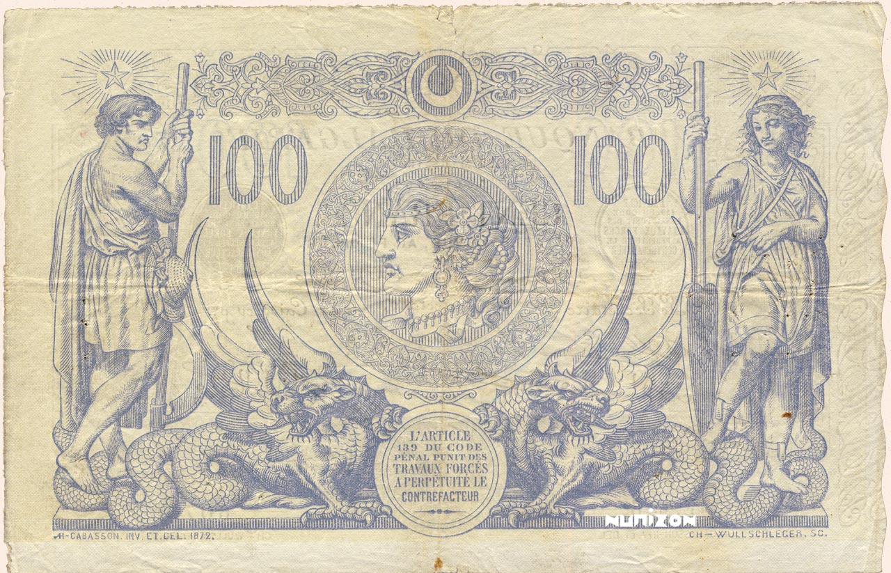 VERSO 100 francs Blue Type 1874