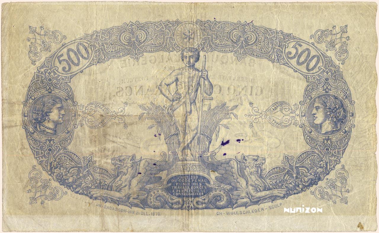 VERSO 500 francs Blue Type 1874