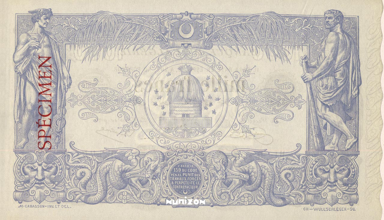 VERSO 1000 francs Blue Type 1875