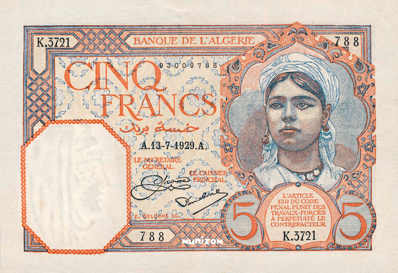 RECTO 5 francs Type 1924