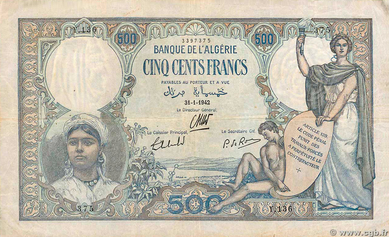 RECTO 500 francs Type 1926