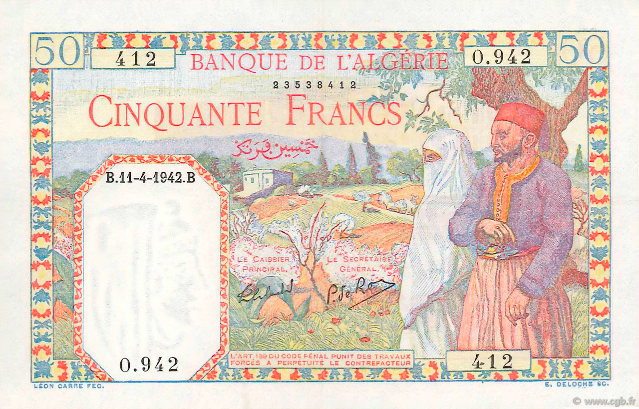 RECTO 50 francs Type 1938