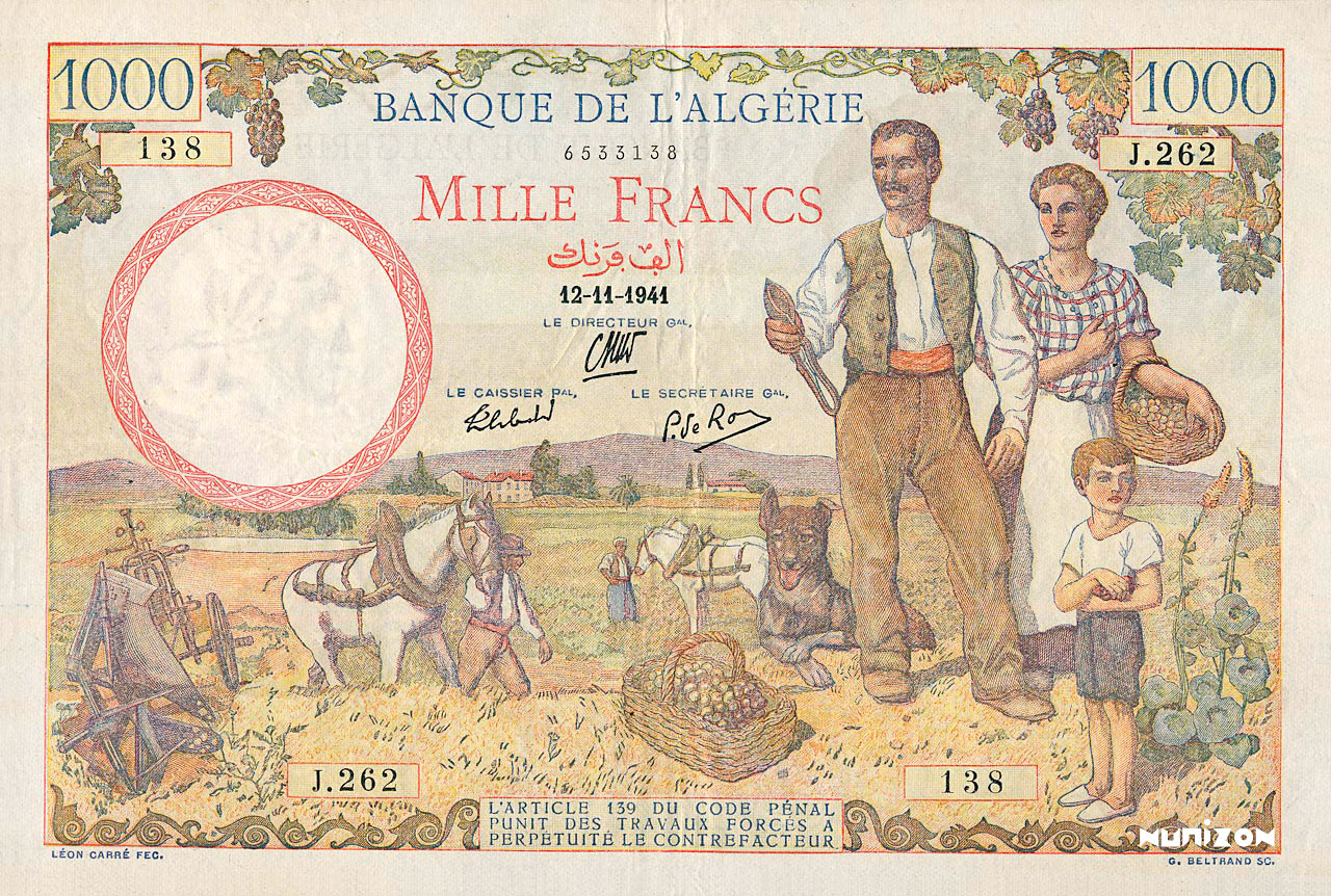 RECTO 1000 francs Type 1940