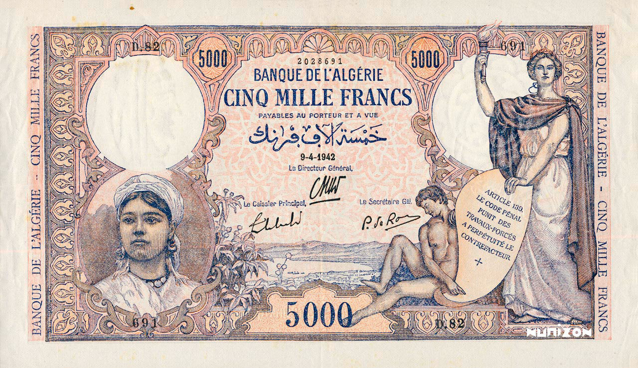 RECTO 5000 francs Type 1942