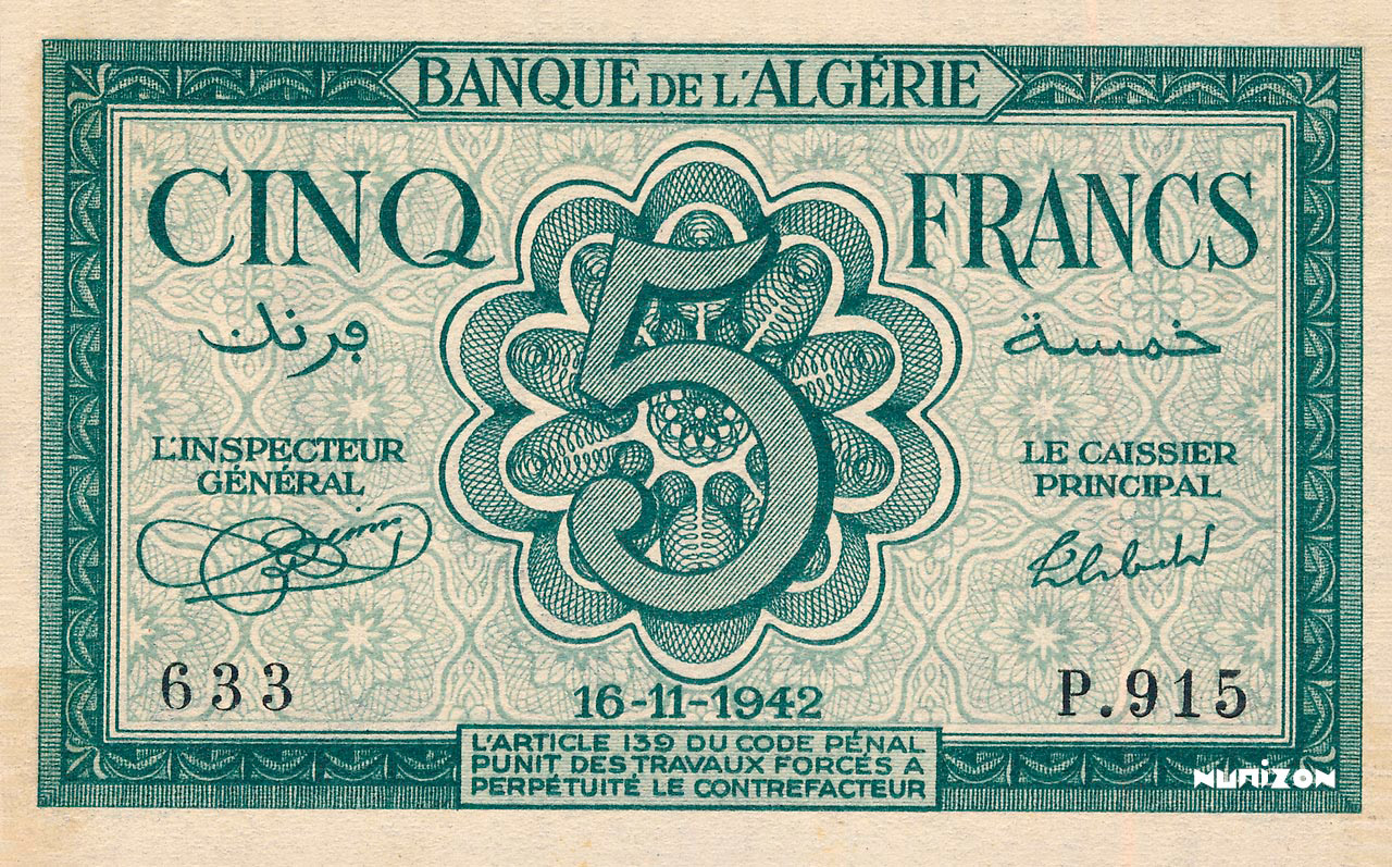 RECTO 5 francs Type 1942