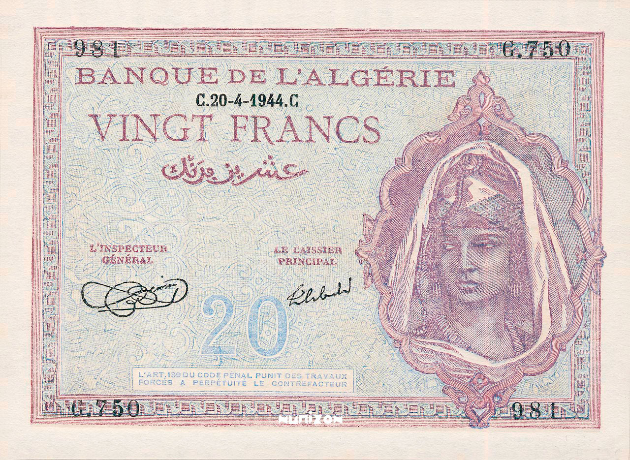 RECTO 20 francs Type 1943