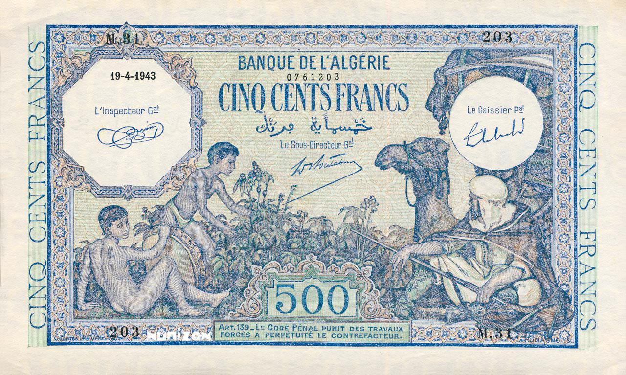 RECTO 500 francs Green Type 1943