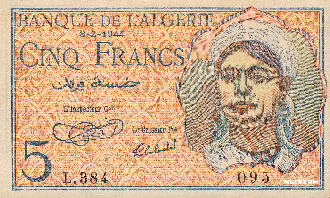 RECTO 5 francs Type 1944