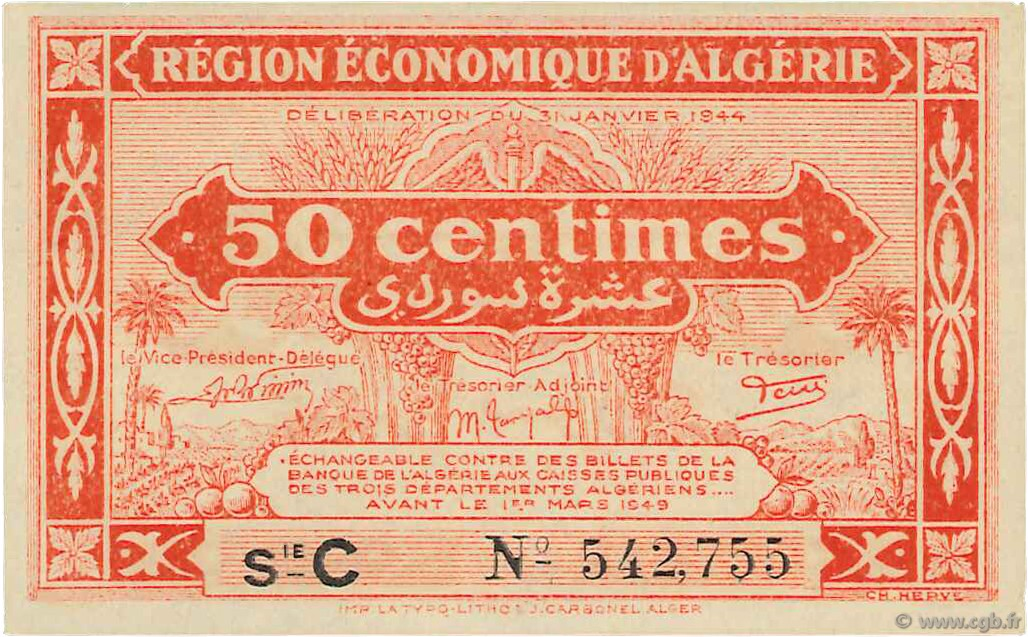 RECTO 50 centimes  Type 1944 1er tirage