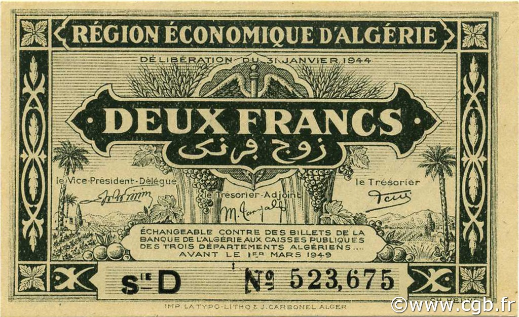 RECTO 2 francs  Type 1944 1er tirage
